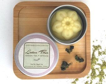 Antioxidant Matcha Green Tea Solid Lotion Bar Tin, Natural Organic Shea Cocoa Body Moisturizer, Bulk Gifts Stocking Stuffers Beeswax Massage