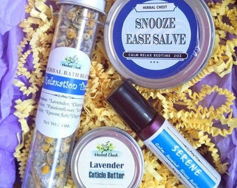Stress Relief Gifts Self Care Kit, Relaxation Care Package Box, Anxiety Relief Lavender Bath Salt Essential Oil Roller, Pamper Cheer Up Spa