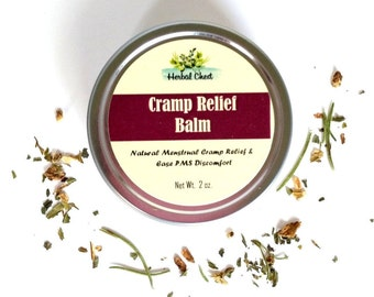 Menstrual Cramp Salve, Pain Relief Herbal Balm, PMS Period Soothing Cream, Warming Muscle Rub, Moontime Self Care Holistic Natural Remedy