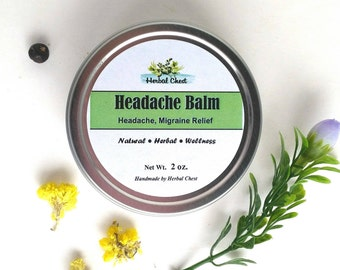 Headache Relief Balm, Migraine Pain Soothe Salve, Holistic Health Self Care Natural Remedy, Get Well Soon Zero Waste Gift, Anti Stress