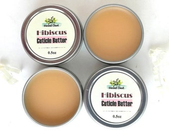 Hibiscus Flower Cuticle Balm, Organic Cocoa Butter Beeswax Nail Cream, Natural Dry Hand Moisturizer Skin Food Products