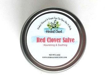 Red Clover Herbal Healing Salve Natural Sensitive Skin Cream Breast Massage, Baby Eczema Psoirasis Organic Shea Butter Helichrysum Oil Balm