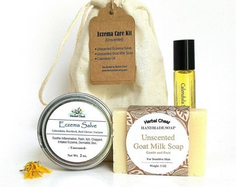 Eczema Kit - Eczema Cream, Organic Calendula Oil, Unscented Handmade Goat Milk Soap, Natural Holisitc Healing Self Care Gift, Sensitive Skin