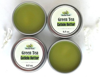 Antioxidant Matcha Green Tea Cuticle Balm, Manicure Natural Nail Care Organic Shea Butter Cream, Bulk Gift for Knitter Jeweler Her