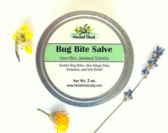 Bug Bite Salve, Soothing Insect Bite Bee Sting Itch Relief, Outdoor Gift Men, Natural Holistic Healing Herbal Remedies, Chickweed Jewelweed
