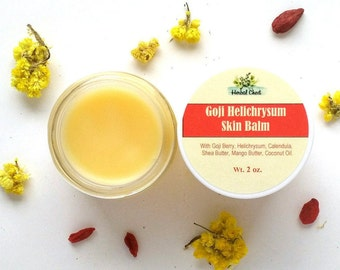 Helichrysum Goji Shea Butter Body Balm - Anti Aging Skin Superfood Healing Cream - Natural Face Hand Dry Skin Beeswax Moisturizer