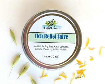 Anti Itch Salve, Herbal Healing Balm, Eczema Dermatitis Psoriasis Relief Dry Skin Cream, All Natural Holistic Self Care, Apothecary Skincare