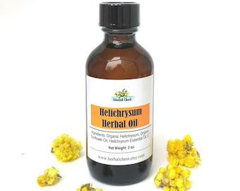 Helichrysum Italicum Organic Body Herbal Infused Oil, Natural Healing Face Moisturizer, Anti Aging Antioxidant Serum, Skin Repair, Immortal