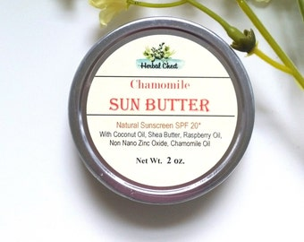 Natural Sunscreen Sun Protection Zinc Sunblock, Chamomile Red Raspberry Seed Oil SPF Moisturizer, Organic Shea Coconut Body Butter Cream