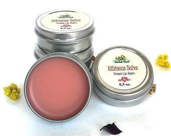 Wholesale Hibiscus Tinted Lip Balm Lot, Natural Lip Gloss Organic Shea Butter Moisturizer, Bulk Gifts Christmas Stocking Stuffers Zero Waste