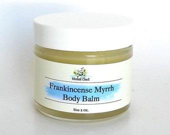 Frankincense Myrrh Body Butter Balm, Natural Healing Skin Food Moisturizer, Organic Cocoa Butter Beeswax Hand Lotion, Zero Waste Skincare