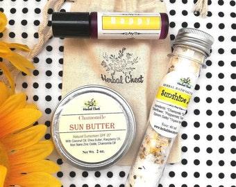 Sending Sunshine Good Vibes Set - Bath Salt, Essential Oil Roller, Natural Sun Butter - Holiday Christmas Zero Waste Bulk Group Gifts