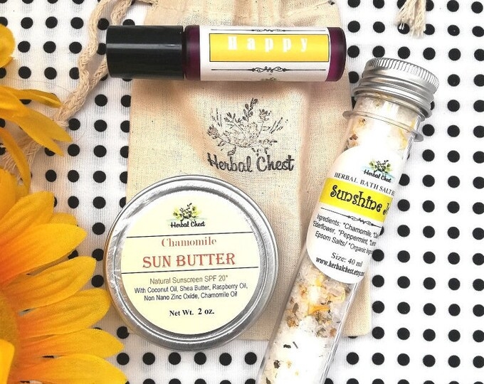 Featured listing image: Sending Sunshine Good Vibes Set - Bath Salt, Essential Oil Roller, Natural Sun Butter - Holiday Christmas Zero Waste Bulk Group Gifts