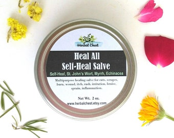 Self Heal Herbal Healing Salve, Organic Calendula Comfrey Yarrow Plantain Infused Oil, Natural Holistic Self Care Anti Inflammatory Balm
