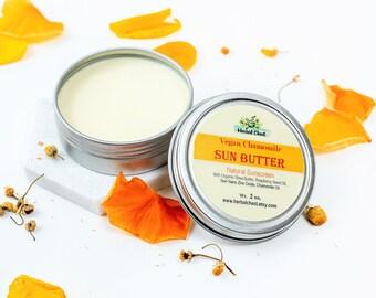 Natural Sunscreen, Vegan Chamomile Sun Butter, Zinc Mineral Sunblock, Eco Friendly SPF Moisturizer, Plastic Free Botanical Day Cream