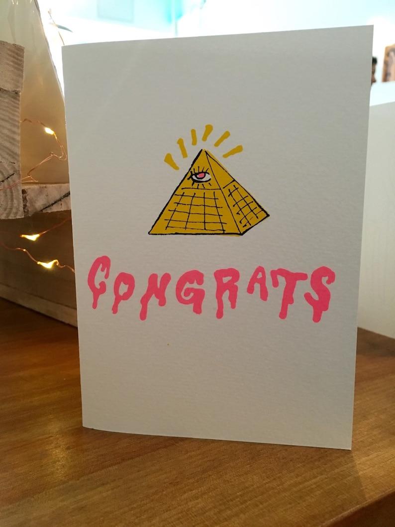 Illunimati Congratulations Hand Printed Card