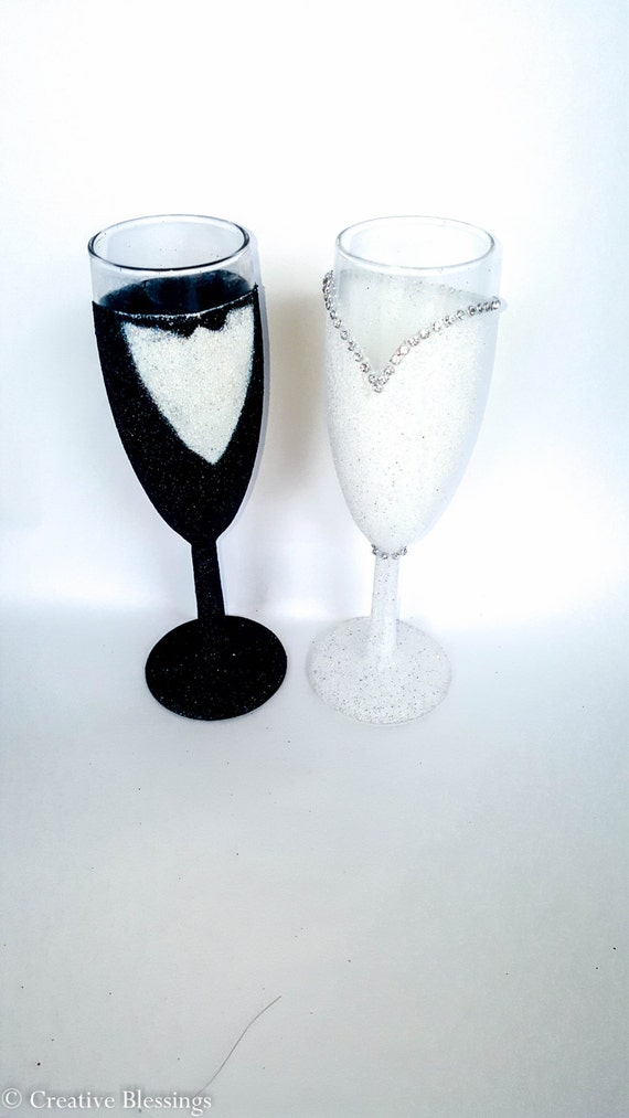 Wedding Champagne Flutes Wedding Gift For Couple His And Etsy
