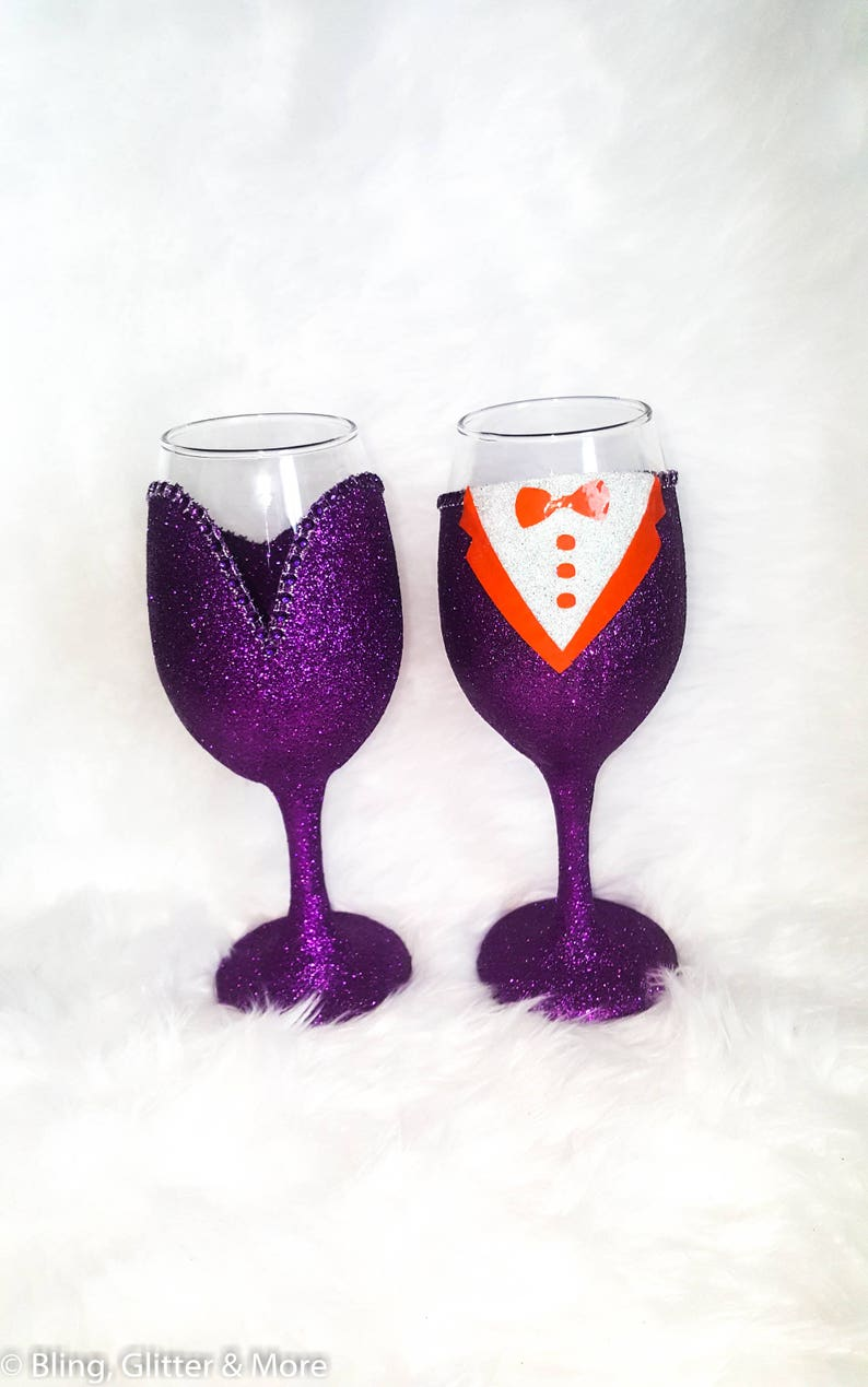 845ae261c91 His and Hers Glass Set Prom Glasses Glitter Wine Glasses