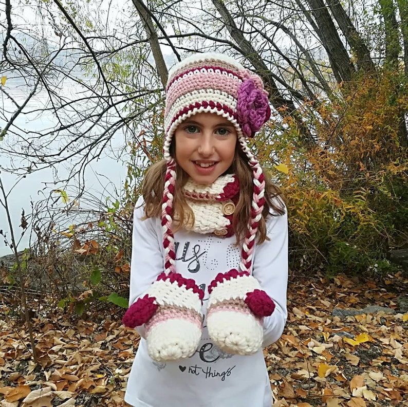 6082d46777e Crochet hat and scarf set for girls girls hat and scarf baby