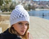 Womans Hat, handmade hats, Crochet Beanie, gift for her, womens gift, womens beanies, pom pom hat, pom pom beanie, white hat, knitting hat