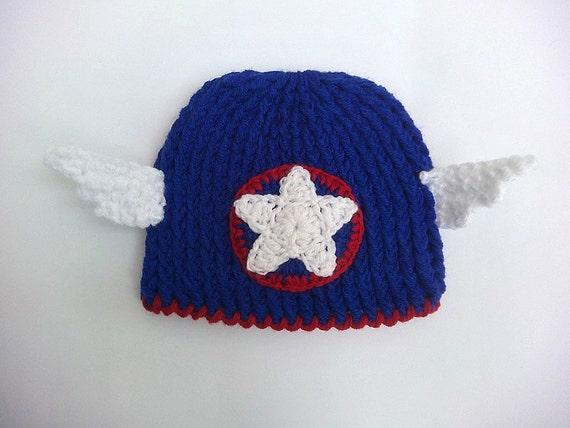 Captain America Inspired Beanie halloween hat crochet hat  19558e36db41