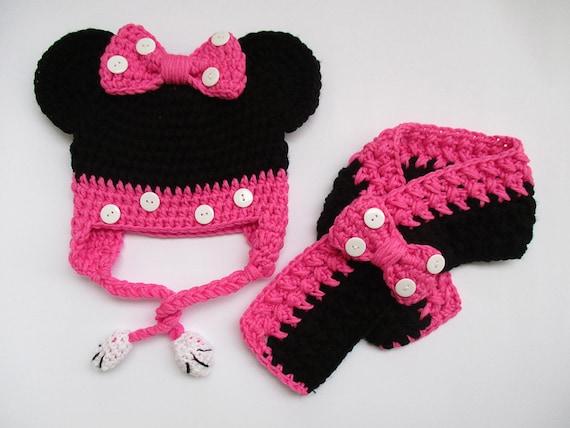 Häkeln Minnie Maus Set Mütze Und Schal Mädchen Outfits Etsy
