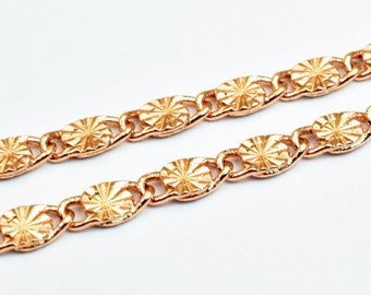 """18K Rose Gold Filled Chain 22"""" Inches Long 4.5mm width 2mm Thickness CG242"""