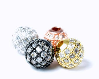 Pave CZ Rhinestone Beads 6mm High Quality 2mm Large Hole Round Bead 4 Colors 2f42c1941179