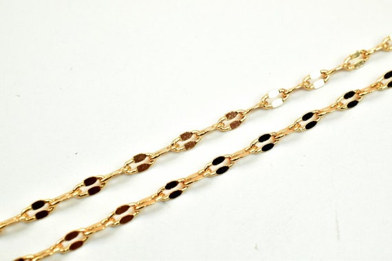 Pinky Gold Filled Chain 18KT Gold Filled Size 17.25 Long 3mm Width 1.5mm Thickness For Jewelry Making Item #CG320