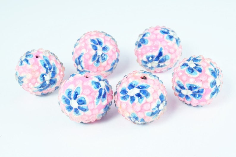 Basketball Wives Bead,Rhinestone Beads,Resin beads Wholesale Bead Wooden beads 10 PCs 22mm  Pink Flower Textured Resin Wooden Round Beads