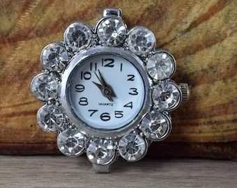 Mixed Sizes Silver Plated Antique Style Watch Face,Rhinestone Encrusted Watch Face, Unique Watches, Round Watch Face,Silver Watch Face