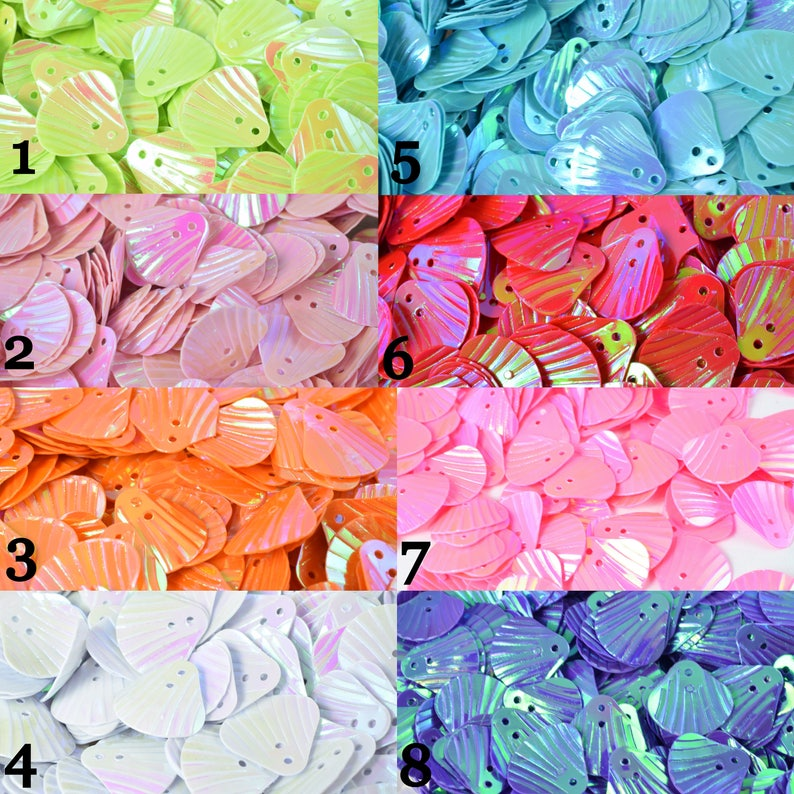 12mm Iridescent Multi Tone Sequins Seashell Shape Beachy SequinsLoose Paillettes,Wholesale Shell Shimmering Sequin Apparel,Shoe Decor