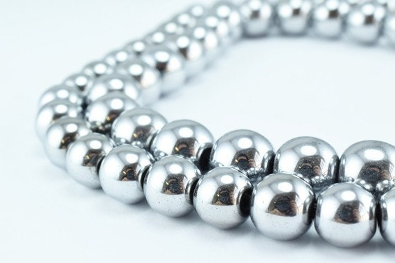 Silver Hematite Glossy Gemstone Round Stone Beads 4mm6mm8mm10mm12mm Natural Healing Stone Chakra Stones for Jewelry Making AAA Quality