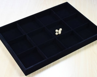 "Beads Organizer Tray Black Velvet Display Size 14""x9.5""x1.25"", 12 Compartments for Beads or Chain or Coins Display, Item# 160001802833"