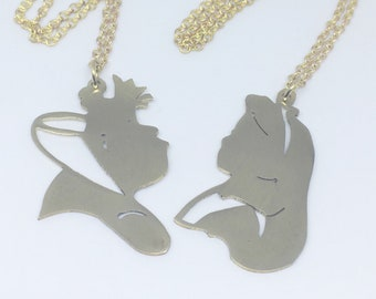 Disney Friendship Queen of Hearts and Alice pendant  in Brass handmade by hand sawing, Disney couple,Disney Villains