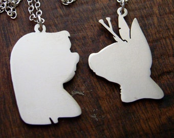 Disney couple Lilo and Stitch  pendant  in white bronze or brass , handmade by hand sawing ,disney jewelry