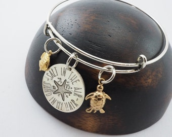 Quote Inspired Bangle salt in the air sand in my hair in Brass-Personal gifts-Custom gifts
