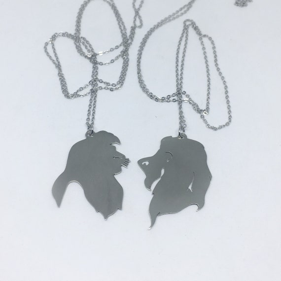 3b557dab0027d Disney Friendship Scar and Simba pendant in white bronze handmade by hand  sawing, Disney couple,Disney Villains