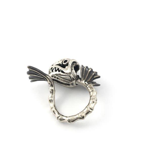 Zodiac Ring Pisces Fish bone oxidized antique color ,Rocker jewelry ,Skull  jewelry,Biker jewelry