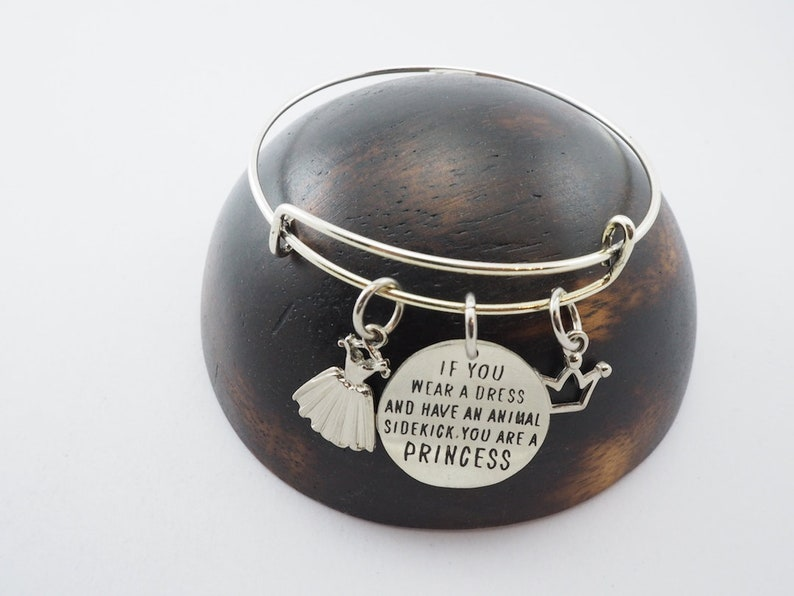 Quote Inspired Bangle if you wear a dress and have an animal sidekick  you're a princess it in Brass-Personal gifts-Custom gifts