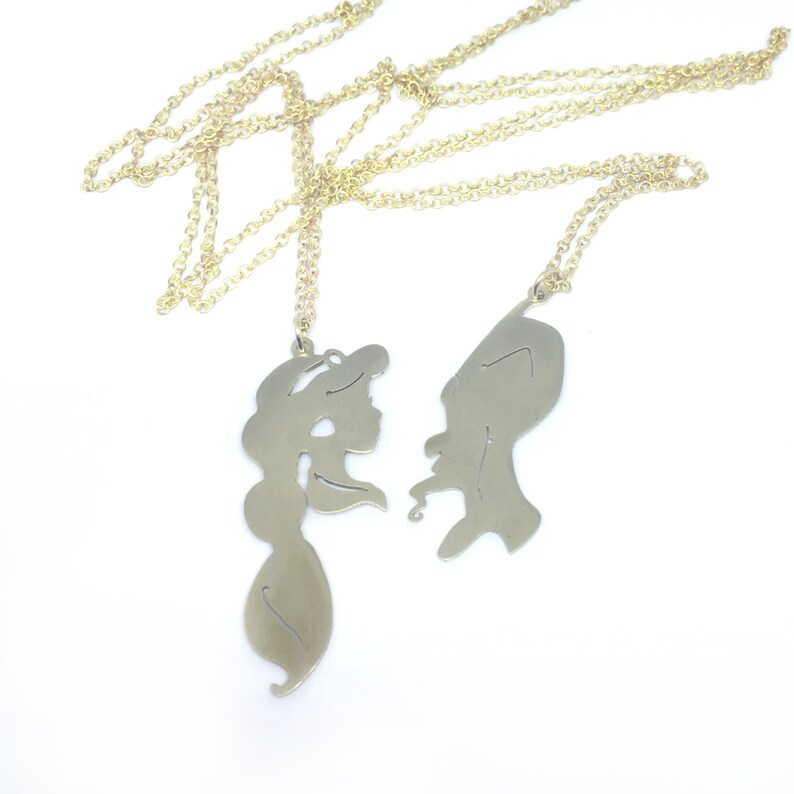 e7bea9b5bba52 Disney Friendship Jafar and Jasmine pendant in white Brass by hand sawing,  Disney couple,Disney Villains