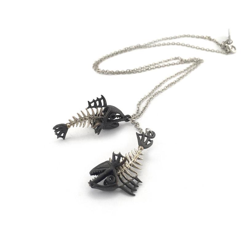 Zodiac pendant Fishes bone for Pisces  oxidized antique color Skull jewelry,Biker jewelry Rocker jewelry