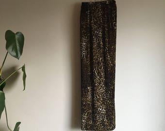 Stretchy Vintage Leopard Print Maxi Skirt