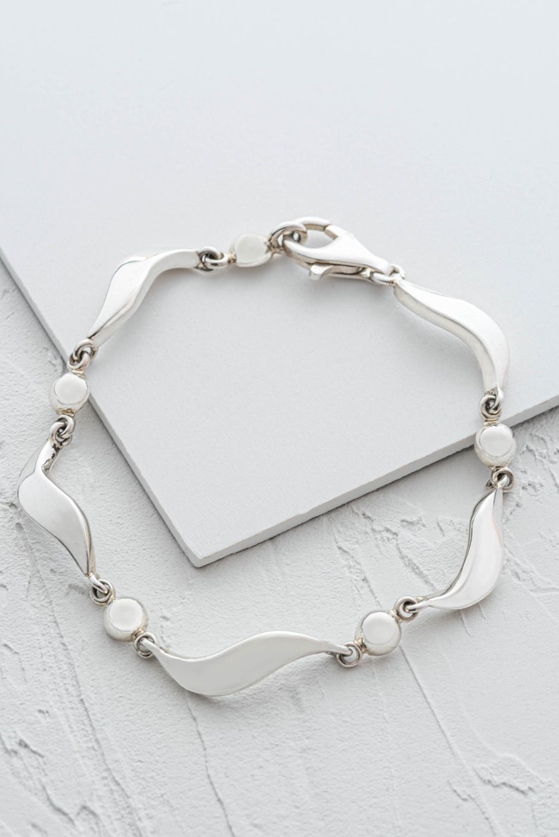 Silver Link Bracelet for Women Chunky Sterling Silver Bracelets from London Bracelet with Circular Links Jewelry Delivered Ready to Gift