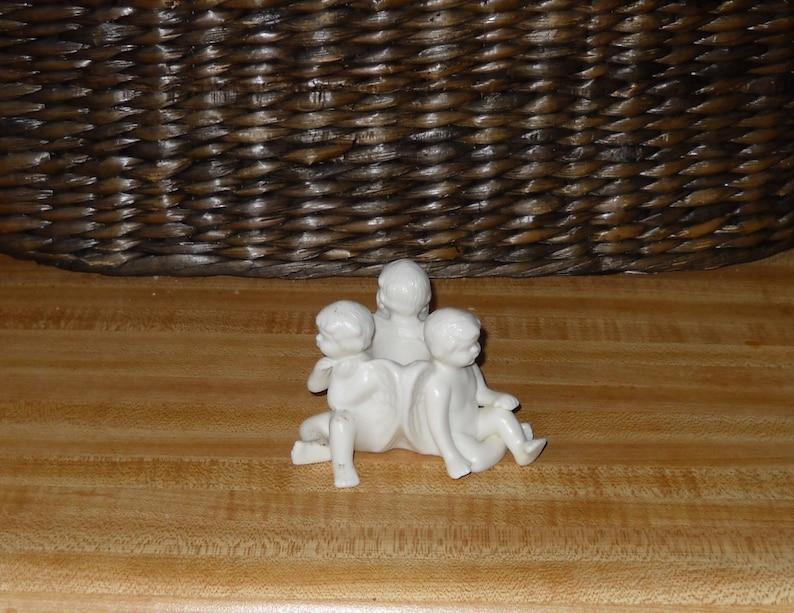Heavenly Cherub Porcelain Bisque Taper Candle Holder
