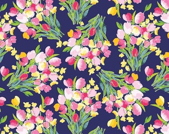 6072a62763d Main Navy from Fruitful Pleasures by Lila Trueller for Riley Blake - 1/2  Yard - Quilt Cotton by the Yard - Tulip Fabric, Navy Floral Fabric
