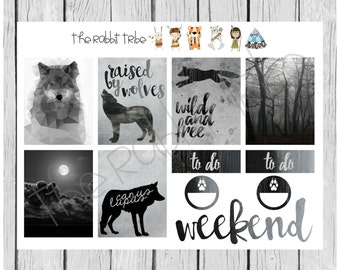 Weekly sticker set - wolves, black and white - planner stickers