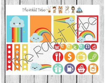 Weekly sticker set - rainbows - planner stickers