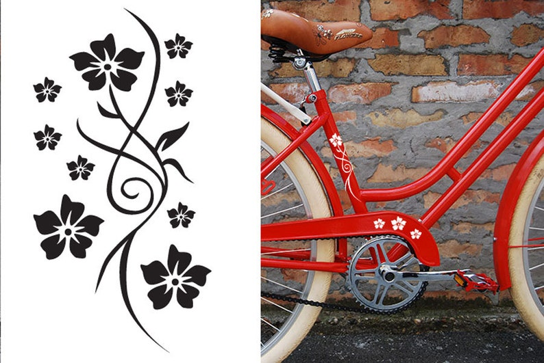 FUN STICKERS flowers bicycle bike decals image 0