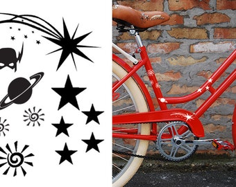 FUN STICKERS, sky and stars bicycle, bike decals